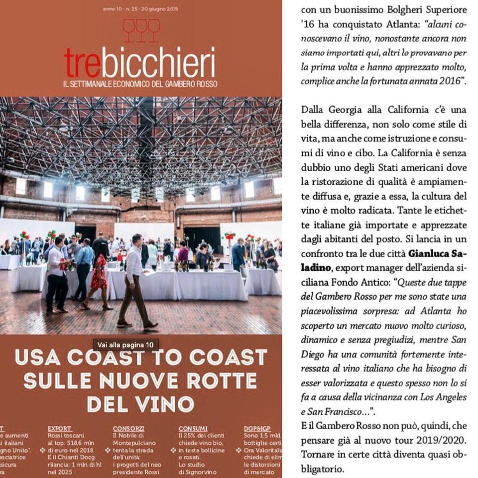 Fondo Antico in the USA – Tre Bicchiero Gambero Rosso Magazine