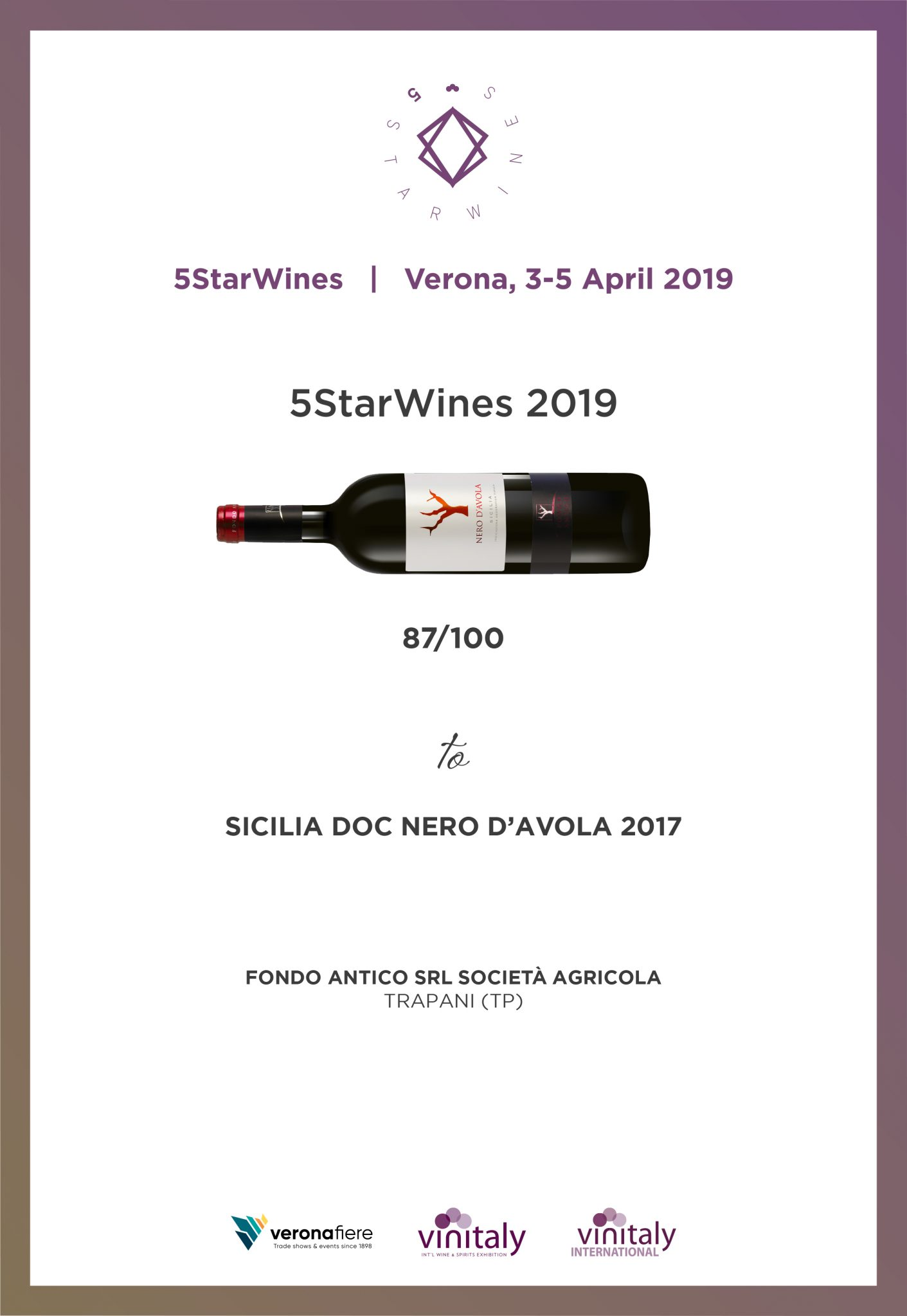 Nero D'Avola – 5 StarsWine 2019 di Vinitaly